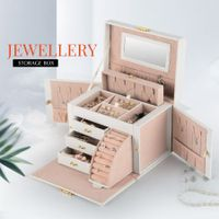 Newest Jewellry Organiser Travel Jewelry Case with Mirror White
