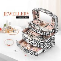 Four-layer Jewellery Box Storage Organizer with Zebra Stripe Cover