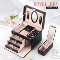 Mirror Jewellery Box Storage Organiser Earring Box PU Leather Cover