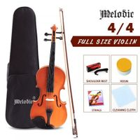 Melodic 4/4 Full Size Acoustic Violin Wooden Natural w/ Bow Rosin Strings Beginner