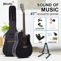 Melodic 41 Inch Wooden Folk Acoustic Guitar Classical Full Size Cutaway Full set Black