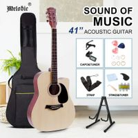 Melodic 41 Inch Wooden Folk Acoustic Guitar Classical Full Size Cutaway Full set Nature