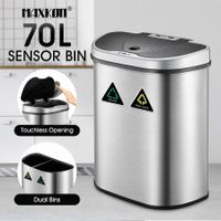 70L Motion Sensor Rubbish Bin Dual Kitchen Waste Can Stainless Steel Recycle Bin