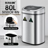 80L Motion Sensor Dual Rubbish Bin Stainless Steel Touchless Recycle Kitchen Waste Trash Can