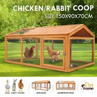 Petscene Wooden Chicken Rabbit Hutch Cage Outdoor Enclosures