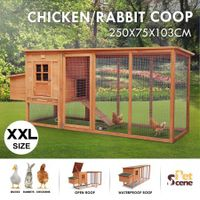Petscene 250cm Chicken Rabbit Coop Walk in Chicken House With Extra Long Run