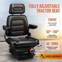 Adjustable Forklift Tractor Seat Excavator Truck Backrest Chair PU Leather
