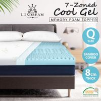 8CM 7 Textured Zone Cool Gel Memory Foam Topper Bed Underlay Bamboo Cover Queen Size