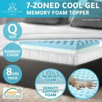 2 Layer 7 Zone Cooling Gel Memory Foam Mattress Topper Bed Underlay Bamboo Cover Queen 8cm