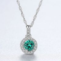 Poly S925 Emerald Crystals Circled Necklace Jewelry Decoration