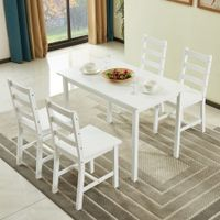 Wooden Table and Chairs 5-Piece Dining Set Kitchen Furniture-White