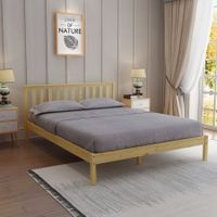 Wooden Bed Frame Queen Size Oak Platform Bed Base Bedroom Furniture
