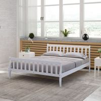 Queen Size Wooden Bed Frame Sleigh Platform Bed Base Bedroom Furniture