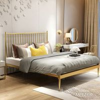 Double Modern Metal Bed Frame Iron Bed Base Bedroom Furniture Gold