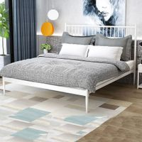 Queen Modern Metal Bed Frame Iron Bed Base Bedroom Furniture White