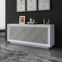 Modern Sideboard Wood Storage Buffet Cabinet Cupboard - White & Grey