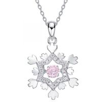 Poly Dancing Stone Snowflake Pendant  Solid 925 Sterling Silver Necklace