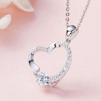 Poly Dancing Stone Heart  Pendant  S925 Sterling Silver Necklace