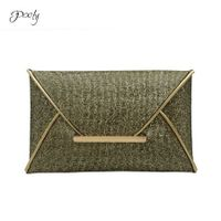 Poly Sequin Gold Party Clutch Bag