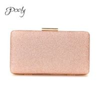 Poly Champagne Glitter Textured Party Clutch Bag