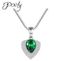 Poly S925 Emerald Heart Shape Crystals Circled Necklace Jewelry Decoration