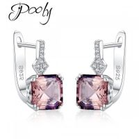 Poly S925 Sterling Silver  Morganite Square Crystals Circled Earrings