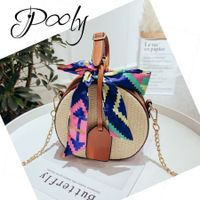 Poly Beach Straw Tote Bags with Decorative Scarf