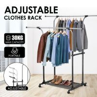 New Double Rail Clothes Garment Rack Adjustable Clothing Organiser