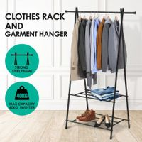 New Clothes Rack Garment Display Clothing Hanger Stand with Two Shelves
