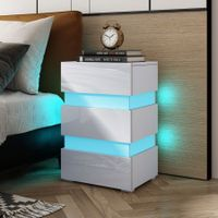 Modern White High Gloss Front Nightstand Cabinet Bedside Tables with 3 Drawers RGB LED