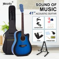 Melodic 41 Inch Wooden Folk Acoustic Guitar Classical Full Size Cutaway Full set Blue