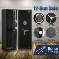 12 Gun Electronic Storage Locker Safe for Rifle Shotgun Pistol with Internal Security Box