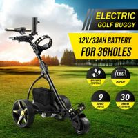 Electric Golf Trolley 3 Wheel Foldable Push Golf Buggy Cart 3 Distance Control LED Display-Black