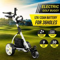 Electric Golf Trolley 3 Wheel Foldable Push Golf Buggy Cart 3 Distance Control LED Display-White