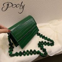 Poly PU Leather  Crocodile Pattern  Stone Chain Women shoulder bag