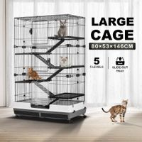 5-Level Rabbit Cage Hutch Metal Cat Ferret Guinea Pigs House