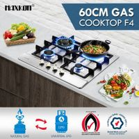 4 Burner Gas Cooktop 60cm Hob Stainless Steel Kitchen Gas Stove NG LPG