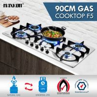 5 Burner Gas Cooktop 90cm Hob Stainless Steel Kitchen Gas Stove NG LPG