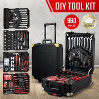 960-Piece Tool Kit Trolley Case 4-Tier Organiser Home Repair Storage Toolbox Set Black