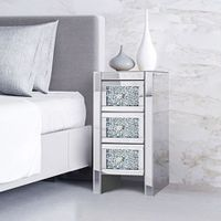 Modern Slim Crushed Diamond 3-Drawer Bedside Table Cabinet Mirrored Furniture
