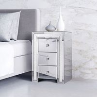Bedside Table Cabinet Sparkly Crystal Mirror Nightstand Chest with 3 Drawers
