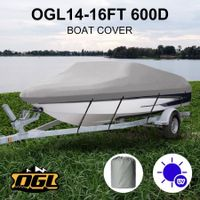 OGL 14-16 ft Trailerable Boat Cover Waterproof Marine Grade Fabric for V Hull Fishing Boats