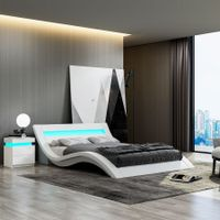 Modern White Leather Bed Frame with LED - King