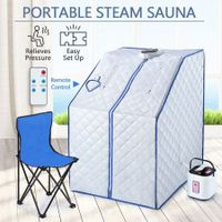Portable Steam Sauna Full Body Spa Kit 1000W Steamer W/Foldable Chair + Remote Control