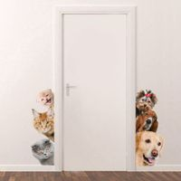 3D Wall Stickers Cats Dogs PVC Self Adhesive Removable DIY Decoration