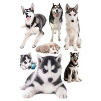 3D Wall Stickers Dogs PVC Self Adhesive Removable DIY Decoration Husky