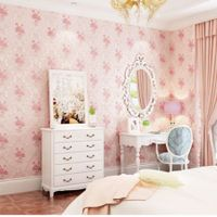 3D Self Adhesive Floral Pattern  Non-Woven Wall Paper 53CMX5M Lt.Pink