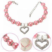 Pet Pearl Necklace with Love Heart Pendant Small Dog Cat Blingbling Jewelry Rhinestones Collar 30CM