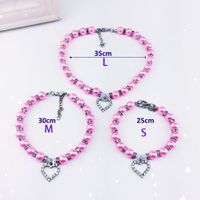 Pet Pearl Necklace with Love Heart Pendant Small Dog Cat Blingbling Jewelry Rhinestones Collar 35CM
