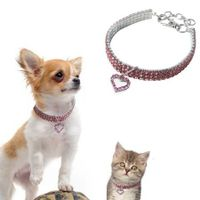 Pet Pearl Necklace with Love Heart Pendant Small Dog Cat Blingbling Jewelry Rhinestones Collar 25CM Pink